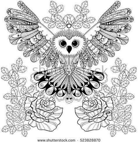 spotted owl coloring page hand drawing unicorn adult anti stress stock vector
