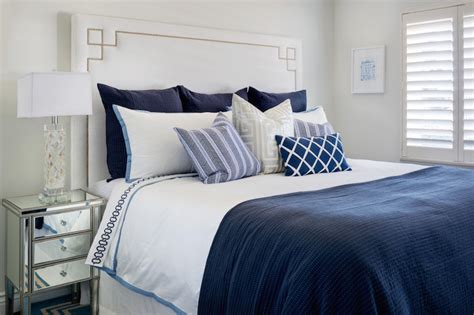 blue and silver bedroom white and navy bedding transitional bedroom