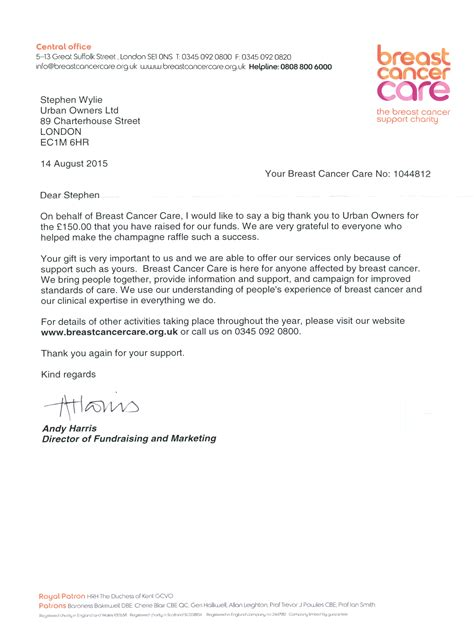 Donation Letter Confirmation 2015 Charity Block Management For Breast Cancer