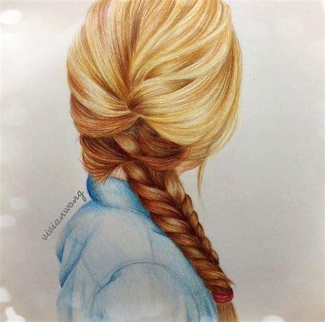 sketches of hair braided hair drawing from vivian wong artwork