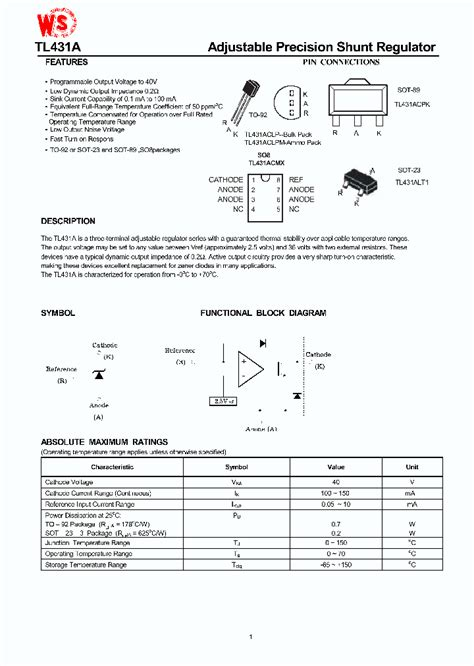 transistor tl431 tl431 4270198 pdf datasheet ic on line