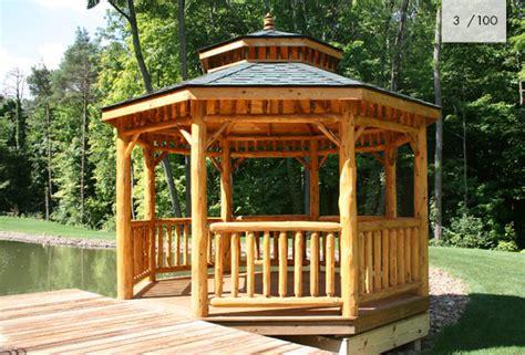 pavillon naturstamm log gazebos mt fence