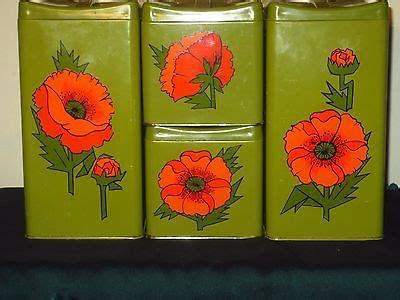 retro orange poppies kitchen canisters set and breadboard 1000 images about canister sets and kitchen stuff on