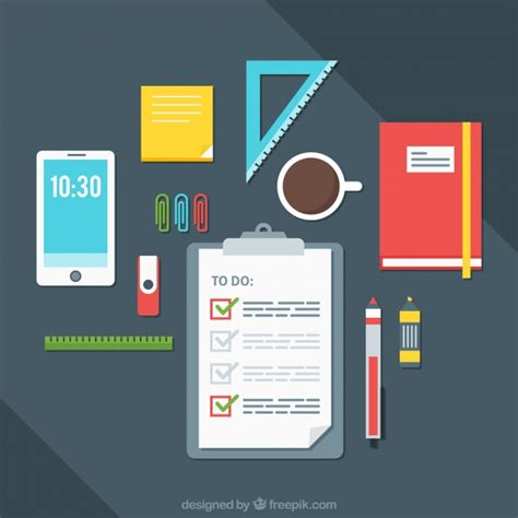 office desk supplies list desk background with to do list and office supplies vector