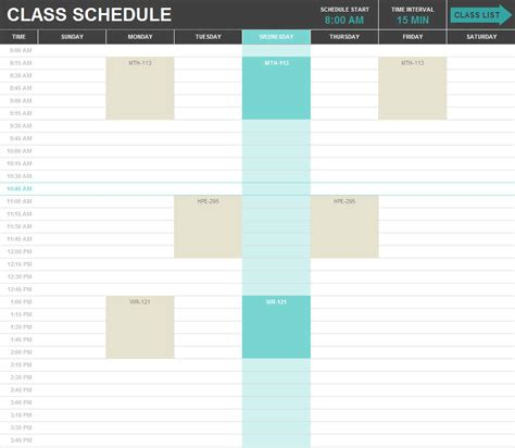 excel class schedule template search results for hourly schedule template calendar 2015