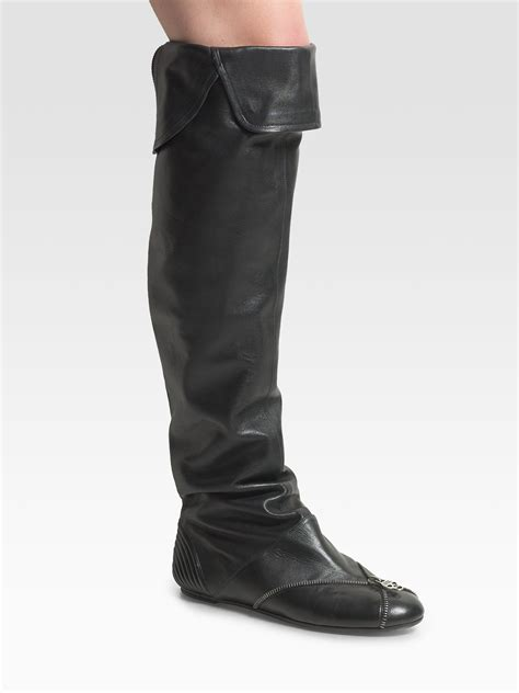 the knee boots flat mcqueen the knee flat boots in black lyst
