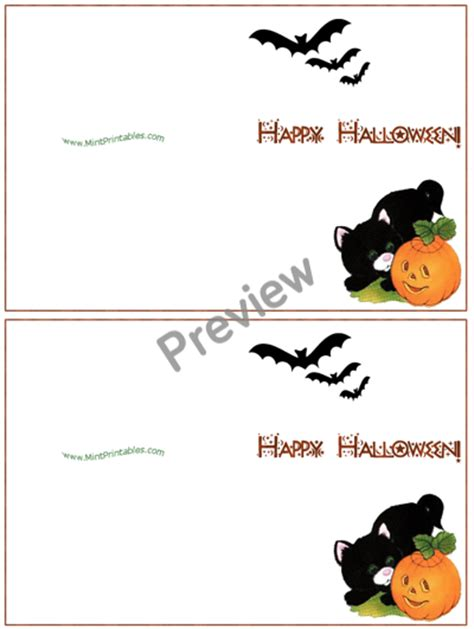 halloween printable greeting cards printable halloween card kitten with jack o lantern bats