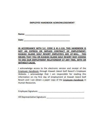 employee acknowledgement letter templates google