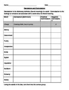 denotation and connotation practice worksheet reading