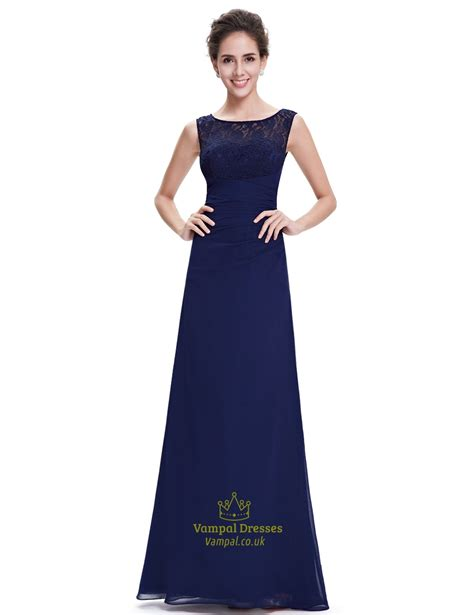 Dress Chiffon Top navy blue chiffon bridesmaid dresses lace top