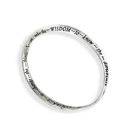 silver curved bangle serenity prayer bracelet
