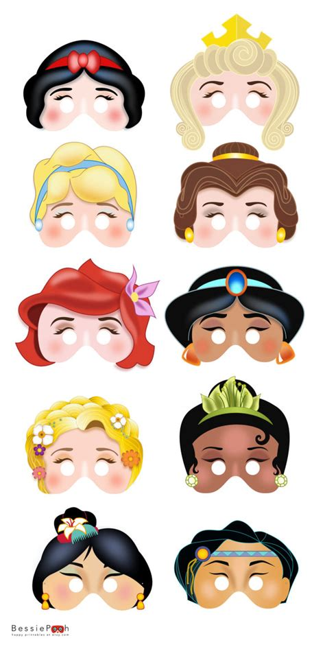 printable mask disney printable disney princess masks instant download pdf file