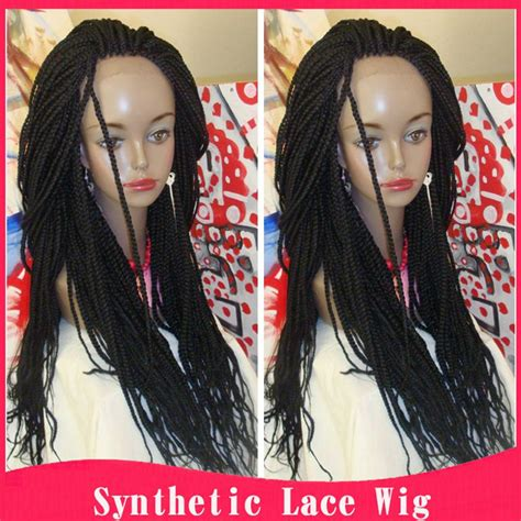 full braided wigs for black women braided lace front wigs black long synthetic wigs for