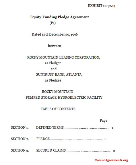 Equity Funding Pledge Agreement Sle Equity Funding Pledge Agreement Equity Purchase Agreement Template