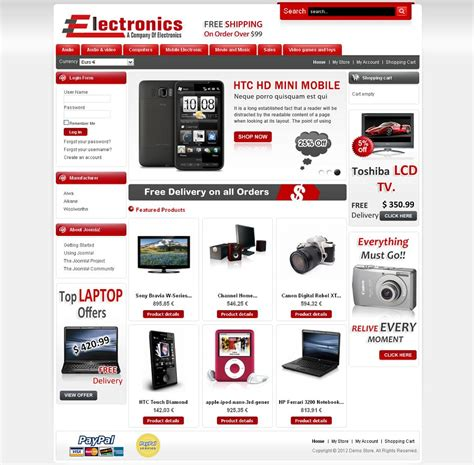 Virtuemart Templates vtm010014 premium virtuemart electronics store template