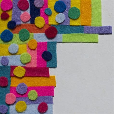 scraps of felt material or colored paper into art my