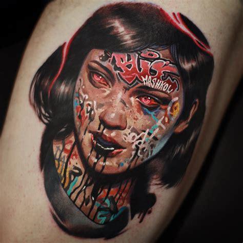 graffiti bombed faces tattoos  mashkow scene