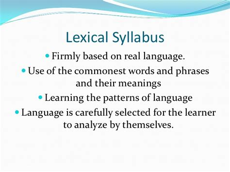 lexical pattern meaning sylabuss powerpoitn