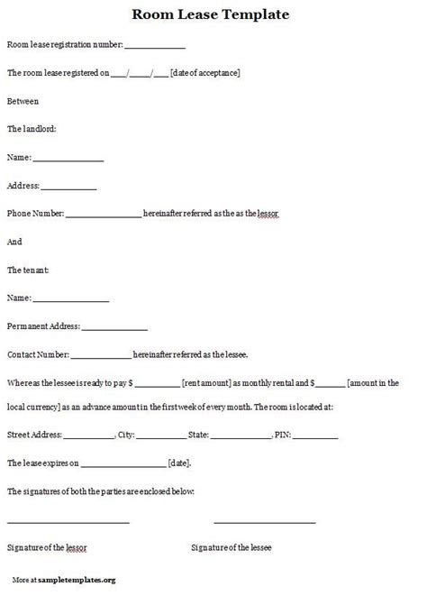 bedroom rental agreement printable sle room rental agreement template form real estate forms pinterest