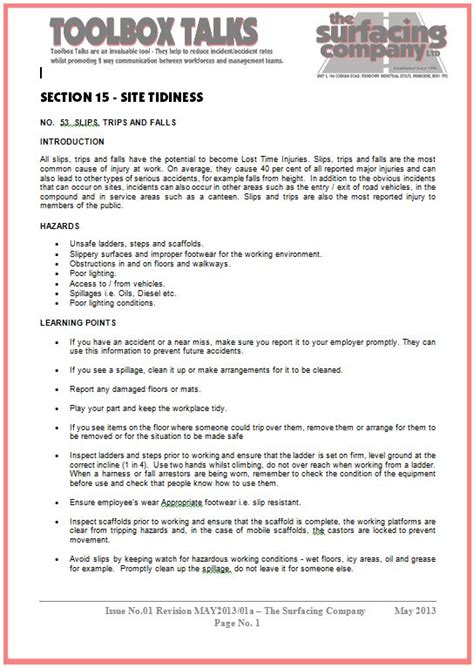 tool box talks template health and safety the surfacing company ltd