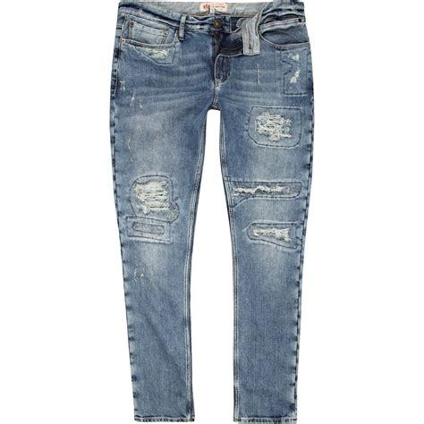 boys light wash skinny jeans river island light wash ripped flynn skinny jeans in blue
