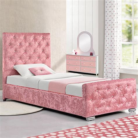 girls headboards pink fabric crushed velvet single bed with under storage