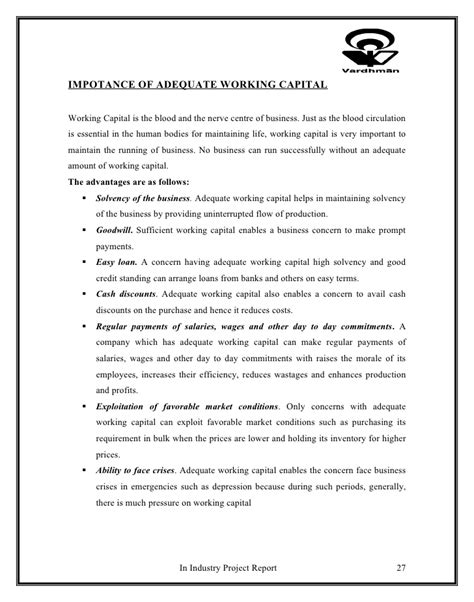 Letter Of Credit Working Capital Project On Letter Of Credit And Working Capital