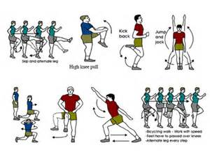 The diagram shows a number of warm up exercise and stretching such as