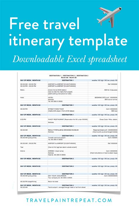 Free Itinerary Template the free travel itinerary template