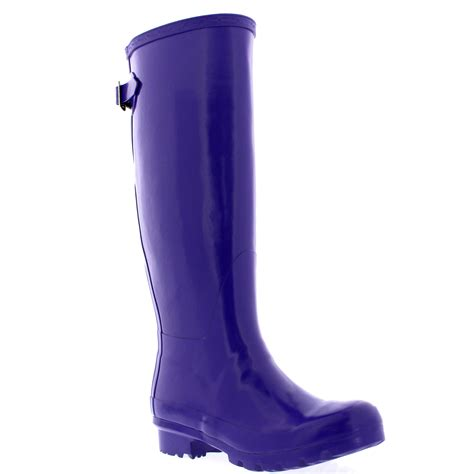 womens 100 rubber gloss adjustable back wide calf fit