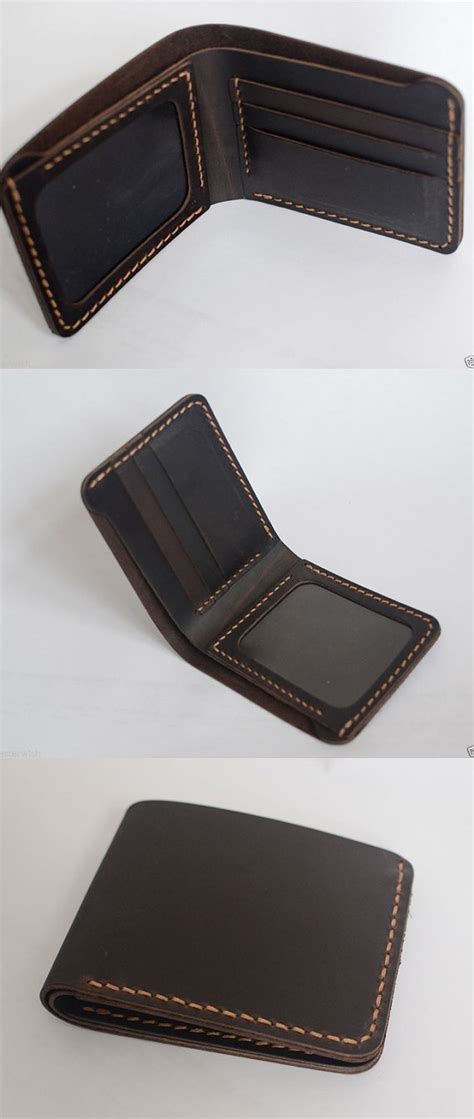 Mens Handmade Leather Wallet - handmade wallet mens leather wallet sewing by yesterwish