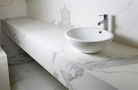 Porcelain Slab Countertops by Neolith Estatuario Finish In The Spa Like