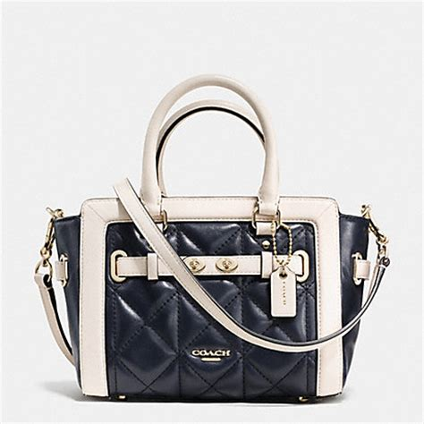 Coach Mini Bennet Midnight Navy Patchwork coach f37666 mini carryall in quilted colorblock leather imitation gold midnight chalk
