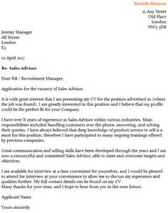 Outbound Sales Representative Cover Letter by Sales Advisor Cover Letter Exle Icover Org Uk