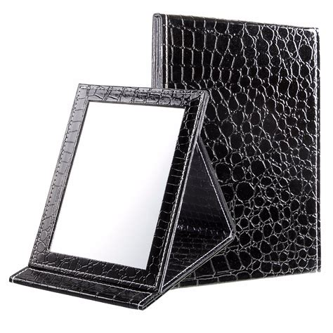 Arraya Gamis Black Size M black size m 15 20 5 1 6cm alligator pattern portable foldable makeup mirror leather cosmetic
