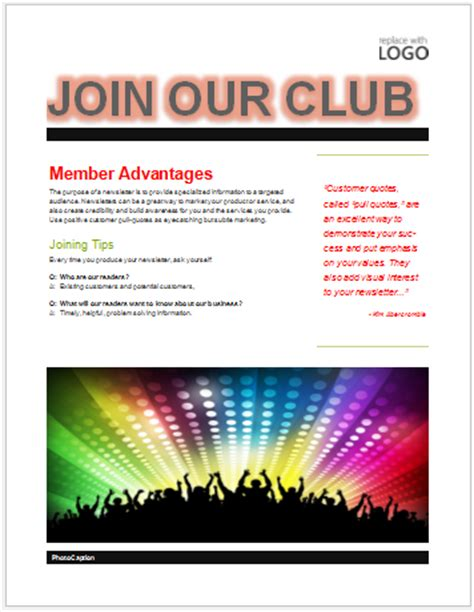 Club Templates Free club flyer template membership free flyer templates