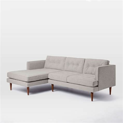 mid century sofa with chaise peggy mid century chaise sectional west elm uk