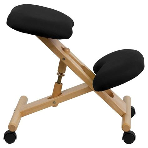 kneeling desk chair review mobile wooden ergonomic kneeling chair in black fabric