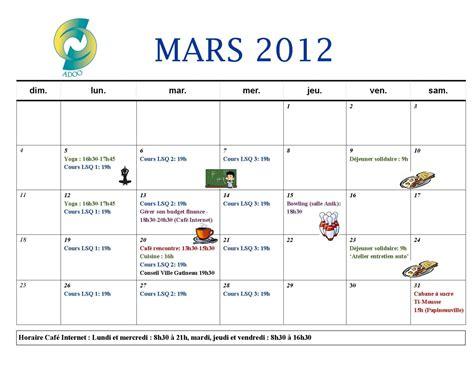 Calendrier Mars 2012 Calendrier Des Activit 233 S Du Mois De Mars 2012 Espace