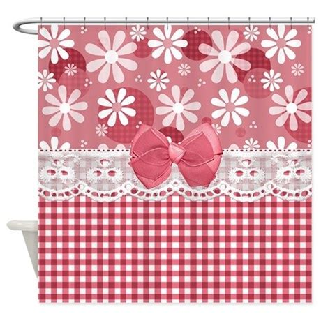 pink gingham shower curtain pretty pink gingham daisies shower curtain by