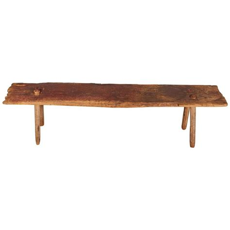 primitive benches furniture rustic primitive bench with faded red paint at 1stdibs