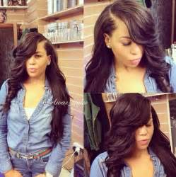 Straight weave hairstyles with side bangs human hair extensions from