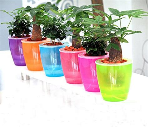 Self Irrigated Planters by Mkono 3 Pack Self Watering Planter Plastic Flower Pot