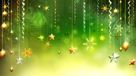christmas green background stars snowflakes decorative ornaments pictures wallpapers  desktop