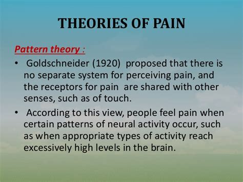 Pattern Theory Goldschneider | nursing management of a patient with pain