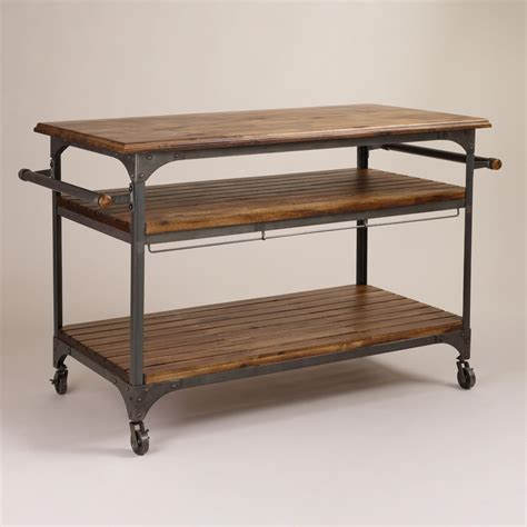 kitchen island cart wood and metal jackson kitchen cart world market
