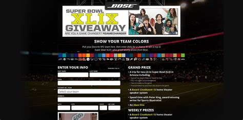 Win Super Bowl 2015 Tickets Sweepstakes - bose super bowl xlix giveaway show your team colors