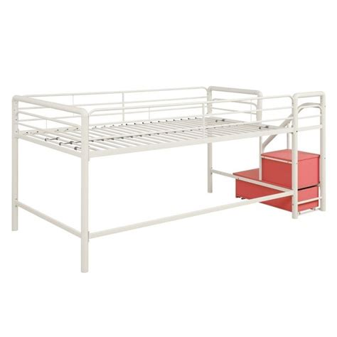 metal twin loft bed metal twin loft storage steps bed in white and pink 5512098