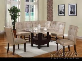 corner dining room set britney white marble 6 piece corner dining set by acme 10280