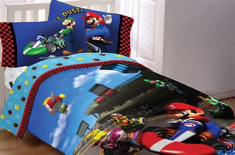 video game bed sheets 3pc nintendo mario kart racing twin single sheet set